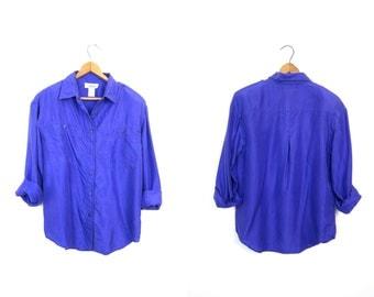 Vintage Silk Blouse 80s 90s Button Up Purple Silk Top Long Sleeve Minimal Top Basic Silk Button Down Blouse Womens Petite XS