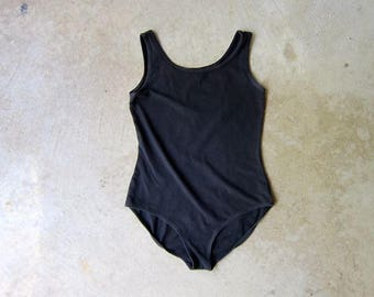 Vintage 80s Black Bodysuit Stretchy One Piece Tank To Leotard High Rise Dance Wear Modern Black Tank Top Swimsuit Womens XS Small