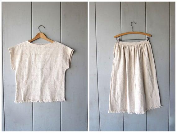 Minimal Knit Cotton Top & Skirt SET Natural Woven Knit Cotton Vintage Crop Top High Waist Skirt With Fringe Modern Preppy Women Small Medium