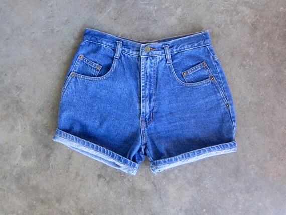 Indigo Blue Jean Shorts Blue Denim high rise Shorts 90s Dark Wash MOM Jean Shorts 1990s Vintage High Waist Shorts Womens size 5/6 small