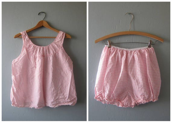 vintage 2 Piece Pajama set Pink & White Checker Print Women's Top and Bloomer Shorts PJS 1950's retro lounge wear Louanne's Small Medium