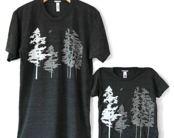 Father's Day Gift - Hemlock Trees Tshirt set, tree graphic tees, father son, father daughter, dad and baby, matching shirts, father child