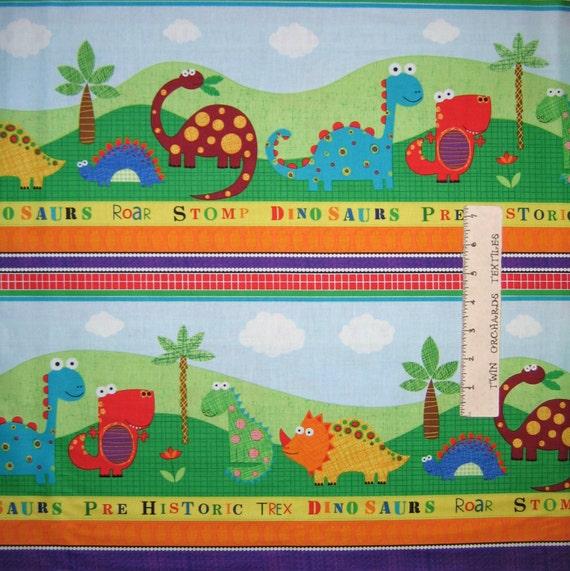 Nursery baby fabric stomp kids dinosaur stripe red for Kids dinosaur fabric