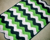 Seahawks Baby Blanket, Crochet Baby Blanket, Baby Blanket, Green, Navy and White, Ripple Baby Blanket, Photo Prop,Travel Size, READY TO SHIP