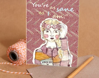 Luna Lovegood // special illustrated foldout gift card with recycled envelope harry potter