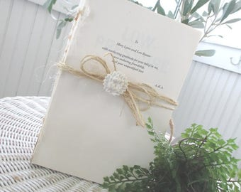 Decorative Book * Photo Prop * Upcycled w/ Twine and Floral Push Pin * Shabby Chic * Cottage * Farmhouse