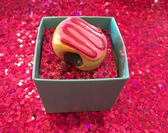 """Donut Brooch, Miniature Food 1"""" 1/2 Cute, Kawaii Pin"""