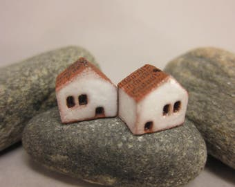 READY TO SHIP...Miniature Terracotta House Beads...Set of 2...Matte White