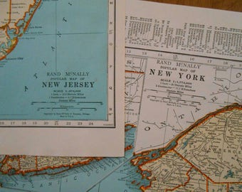 New York, New Jersey Vintage maps Set of 2, 1944 State Maps collection, old maps, wall art