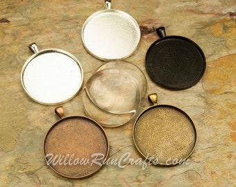 10 pcs 38mm Circle Pendant Trays with 10 Glass Cabochons, Silver, Antique Copper, Antique Bronze, Black (09-11-710), Cabochon Setting
