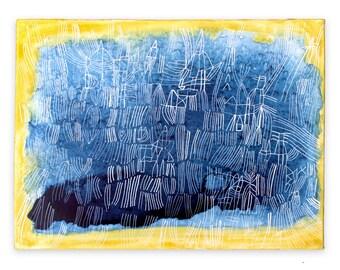 Azurite - small blue painting yellow aura art fine art original painting watercolor aura painting crystal art healing