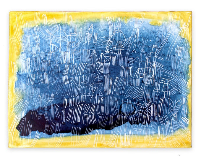 Featured listing image: Azurite - small blue painting yellow aura art fine art original painting watercolor aura painting crystal art healing