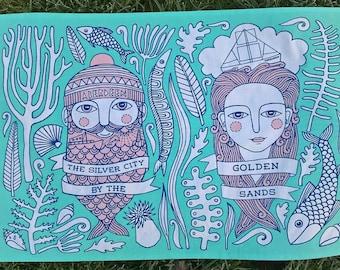 Aberdeen tea towel