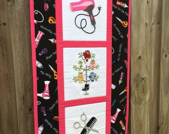Hair Stylist quilted banner wall hanging - hairdresser 15 in x 32 in