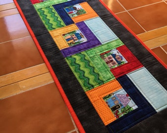 Quilted Home Sweet Home Table Runner - 41 inch x 14.5 inch