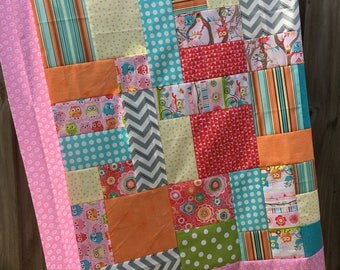 Tree Party Owl print by Riley Blake - Unfinished Quilt Top - baby sized - 42x42 inch / polka dot / pink / gift for her / ready to quilt