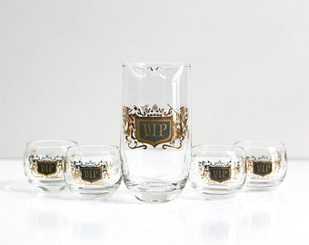 Mid Century Modern VIP Cocktail Set / Retro VIP Glasses and Pitcher Set / Black and Gold Mid Century Barware / 1960s Glassware Set