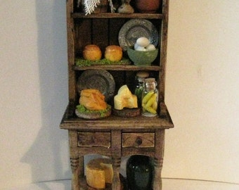 MiniatureTudor Hutch,  Medieval Doll house Hutch, narrow hutch, filled hutch,Tudor foods, Twelfh scale dollhouse miniature