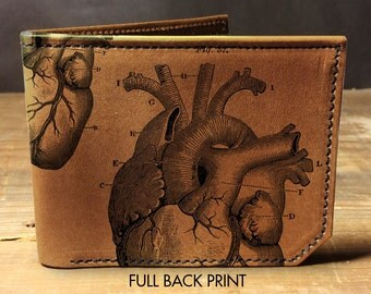 wallet - leather wallet - mens wallet - heart wallet - anatomical