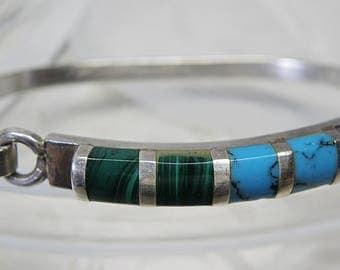Turquoise and Malachite Bracelet 925 Mexico
