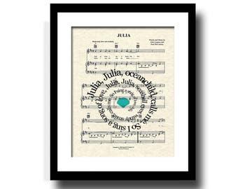 Julia Song Lyric Sheet Music Art Print, Spiral Song Lyrics, Nursery Art, Girl's Room Art