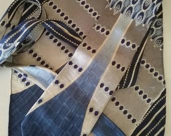Vintage Zeyda Bartoni Silk Necktie and Pocket Square