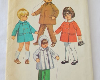 Vintage 1970 Toddler Coat with Detachable Collar, Hood and Pants Sewing Pattern Simplicity 9042 Size 1/2, Chest 19, Waist 19