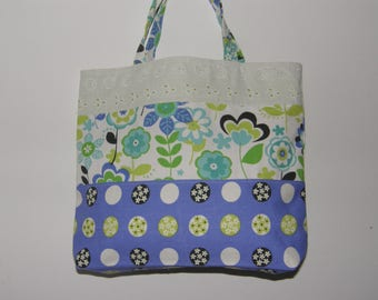 Tote/Grocery Bag with Mod Flowers, Spots and Lace