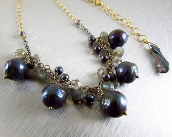 25OFF Grey Pearl and Labradorite With Mixed Metal Necklace.