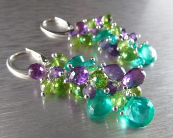 Colorful Aqua Green Quartz With Amethyst And Peridot Sterling Silver Cluster Dangle Earrings