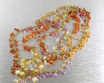 25% Off Long Layering Ethiopian Opal, Citrine, Sunstone and Quartz GF Necklace