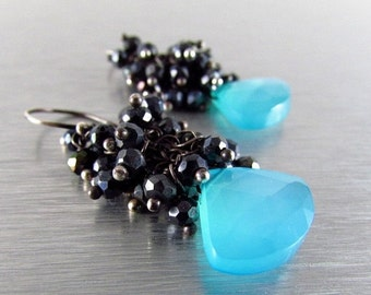 25% Off Turquoise Blue Chalcedony and Black Spinel Wire Wrapped Cluster Earrings - Black Sand Beach