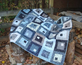 Gray and Black Batik Lap Throw Quilt