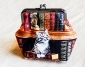 Cat Pouch, Cat Coin Purse, Fabric Pouch, Pouch, Metal Frame Change Pouch, Cat Fabric Snap Pouch, Gift for Her, Gift for Mom, Cat Lovers Gift