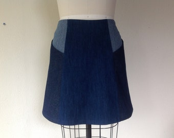 Barbara denim paneled skirt Sz 8