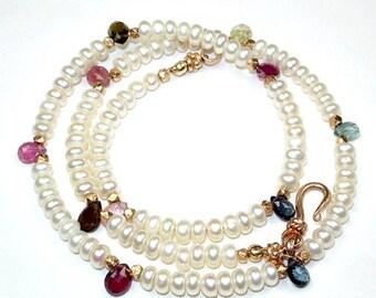 55% OFF Tourmaline Choker Necklace Pearl Multicolor Gold Dainty Tourmaline Necklace with Pearls