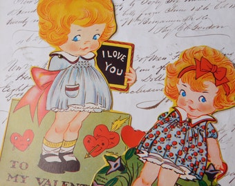Vintage Mechanical Valentine's Day Cards - Set of Two