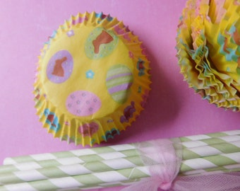 Easter/Spring Cupcake Liners and Paper Straws - Two Dozen of Each