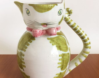 Vintage Italian Pottery Cat Pitcher