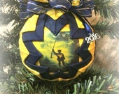 HANDMADE QUILTED Ornament /blueand gold/2016 West Virginia Ornaments/Mountaineers/Quilted/Quilt/Christmas/Team (Ready to Ship)