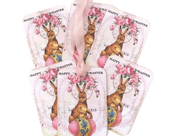 Tags Easter Gift, Vintage Easter Tags, Easter Rabbit Tags, Easter Egg ,Paris Rabbits,Shabby Easter Tags, Brown Bunny Tags,Pink Happy Easter