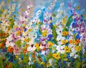 Abstract Flowers Painting Original Large Artwork After Rain by Luiza Vizoli