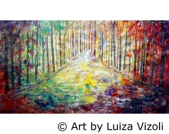 Large Canvas Painting Original Wall Art SUNRISE Trees Landscape HUGE 60x30 Ready to Ship Art by Luiza Vizoli
