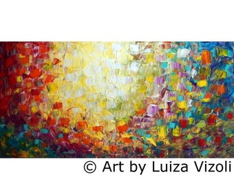 Abstract Lights Oil Painting Large Canvas 48x24 Ready to Ship Minimalism Artwork by Luiza Vizoli
