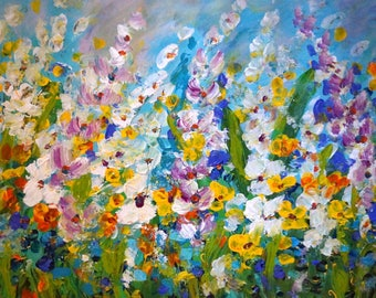 Abstract Flowers Painting Original Large Artwork After Rain by Luiza Vizoli
