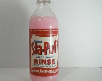 Vintage Fabric Softener Staley's Sta-Puf Miracle Laundry Rinse in Glass Bottle Vintage 1950s Kitsch Laundry Room Decor Movie Prop Photo Prop