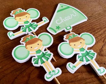 Cheer Party - Set of 12 Assorted Cheerleader Cupcake Toppers in Green by The Birthday House