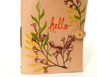 Hello Floral Leather Journal