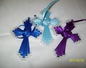 Plastic Canvas Crosses, Set of 3 Lt Blue, Dk Blue, Purple