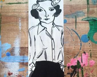 Marlene portrait - handpainted original art on wood panel